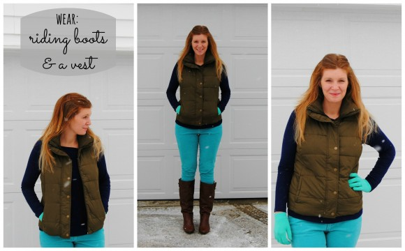 old navy vest outfit collage