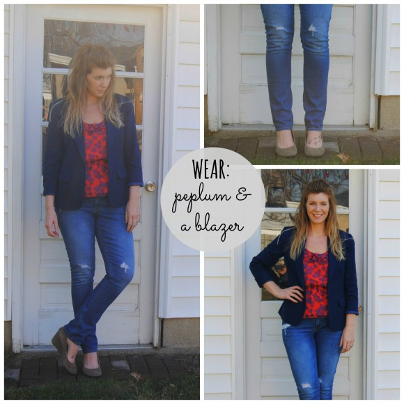 peplum top with blazer collage