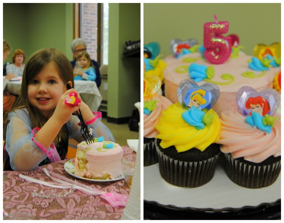 princess birthday party cake collage