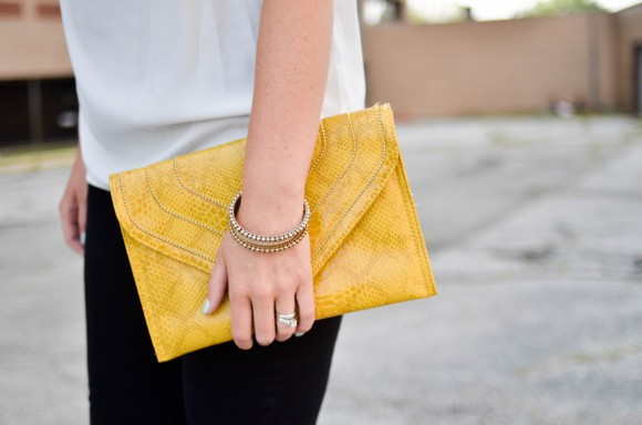 teal heels yellow purse