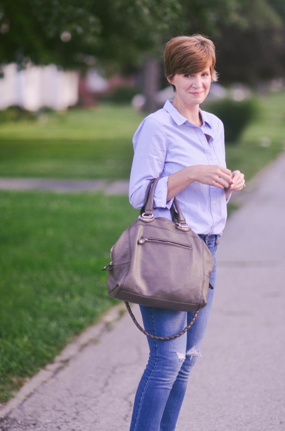 gap shirt brown purse